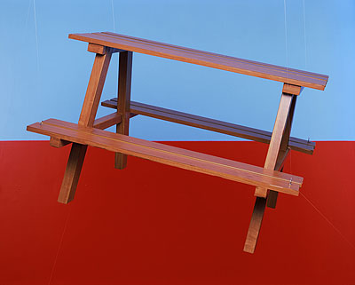 PAUL ADAIRPicnic table, 2008from Three Hole Mountain Innpigment print90 x 112cm, edition of 5 + 2AP