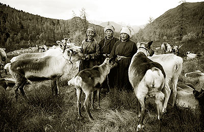 Tsaatan reindeer maids, Hureen Taiga, Hovskol - 2003Platinum print on 100% Arches platine paper. Edition of 3 and 1 AP.Image size : 28 x 40 inches / 71,12 x 101,6 cmPaper size : 30 x 44 inches / 76,2 x 111,76 cm© HAMID SARDAR AFKAMI, COURTESY GALERIE THIERRY MARLAT
