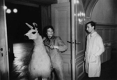 Erasmus SchröterEin Lama soll in den Ballsaal geführt werden, Leipzig 1981, Infrarotfotografie, Silbergelatine-Abzug