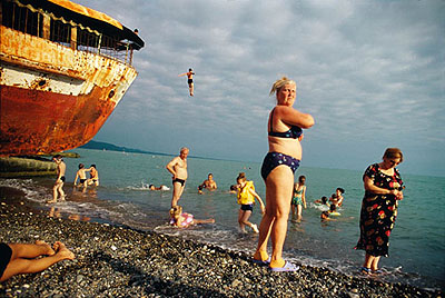 © Jonas Bendiksen/MagnumphotosAbkhazia. Sukhum. Locals & Russian tourists are drawn to the warm waters of the Black Sea, 2005from SatellitesPigment print40.5 x 60cm, edition of 20