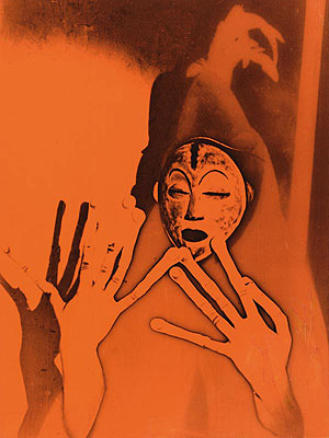 Maurice TabardEssay for a film. Culte Vaudou (voodoo cult), 1937Vintage gelatin-silver print (solarisation) with red/orange transparent foil, 22,7 x 16,9 cmCentre Pompidou, Musée national d'art moderne, Paris© RMNPhoto: Georges Merguerditchian