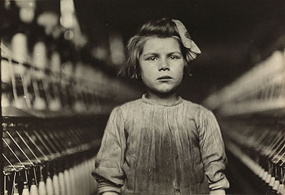 Lewis W. Hine, Spinner, Cotton Mill, Augusta, Georgia, silver contact print, 1909. Estimate: $12,000 to 18,000