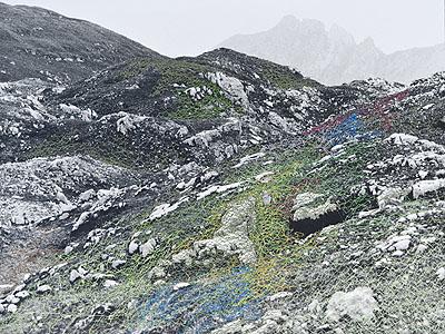 Iris Hutegger, Landschaft Nr. 09-12-40, 2009, analoge Fotografie, benäht, 30 x 40 cm. Foto: © Hutegger