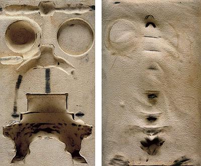CASE 7, diptych, 2009Incl. frame: 31 x 19,5 x 3 cm, 31 x 19,5 x 3 cm Ilfochrome, Diasec Glass, wooden American frame.(Pressforduck meatfromEmpressElizabeth of Austria;Grénard, France, end of 19th century, Silver ChamberHofmobiliendepotVienna,Austria)© Sinje Dillenkofer