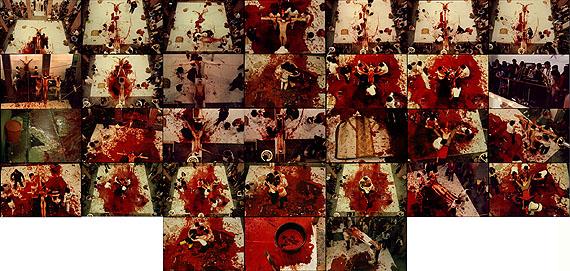 Heinz Cibulka (*1943)Wandtafel-Dokumentation der »Frankfurt-Aktion« von Hermann Nitsch, Staedel-Schule 1980Frankfurt/Main 198031 Chromogenic Prints, alle einzeln gerahmtJede Fotografie  30 x 45 cm, ganze Installation 150 x 315 cmEdition no. 2/7Startpreis: 6.000 EuroSchätzpreis: 10.000-12.000 Euro