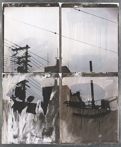 Lot  5Robert RauschenbergJapanese Sky | (from the Bleacher Series), 1988Lot 5, a composition of 4 unique bleached Polaroid Polapan printsEstimate: $40,000 – 60,000Art © Estate of Robert Rauschenberg / Licensed by VAGA, New York