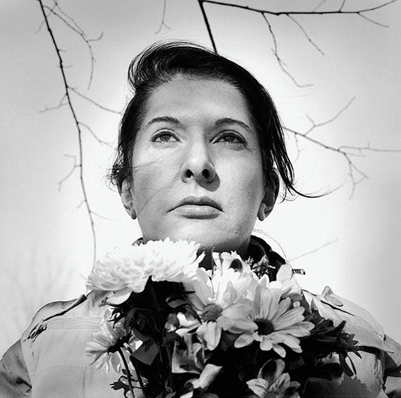 Marina AbramovicPortrait with Flowers, 2009Framed archival pigment printPrint: 53 3/8 x 54 3/16 inches, 135.6 x 137.6 cmFramed: 54 3/4 x 55 1/2 inches, 139.1 x 141 cmEdition of 9 with 2 APs© Marina AbramovicCourtesy the artist and Sean Kelly Gallery© 2010, ProLitteris, Zurich