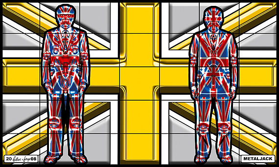 "Gilbert & George: Metal Jack. Aus der Serie ""Jack Freak Pictures"", 2008. 317 x 528 cm. © Gilbert & George"