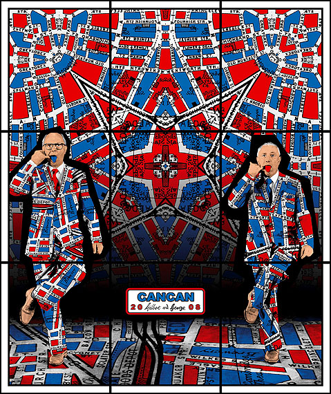 "Gilbert & George: Cancan. Aus der Serie ""Jack Freak Pictures"", 2008. 226 x 190 cm. © Gilbert & George"