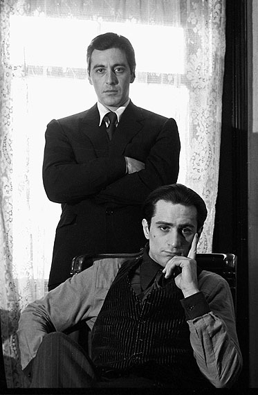 Al Pacino and Robert De Niro, The GodfatherGelatin silver print, 20 x 16 inches (50 x 40 cm)Edition of 25Copyright © Steve Schapiro / A. galerie