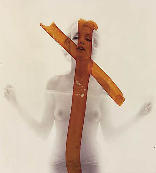 Bert Stern, Marilyn Monroe (Crucifix), mural-size chromogenic print, 1962, printed 1992. Estimate: $15,000 to $25,000.