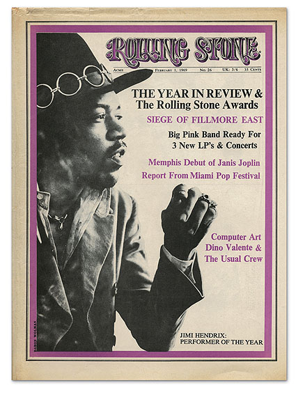Rolling Stone magazine cover, issue 26, 1969, Jimi Hendrix  © Baron Wolman