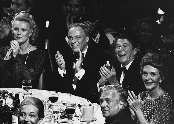September 30, 1980: New York – Barbara Marx, Frank Sinatra, Ronald Reagan, and Nancy Reagan attend a Reagan fundraiser at the Waldorf-Astoria Hotel. CREDIT: Ron Galella