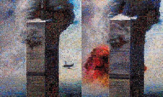 GOOGLEGRAM: SEPTEMBER 11, 2005, c-print, 95 x 160 cm . September 11 plane crash snapshots. The photographs have been refashioned using photomosaic freeware, linked to Google's Image Search function. The final, result is a composite of 8,000 images available on the Internet that responded to the words: