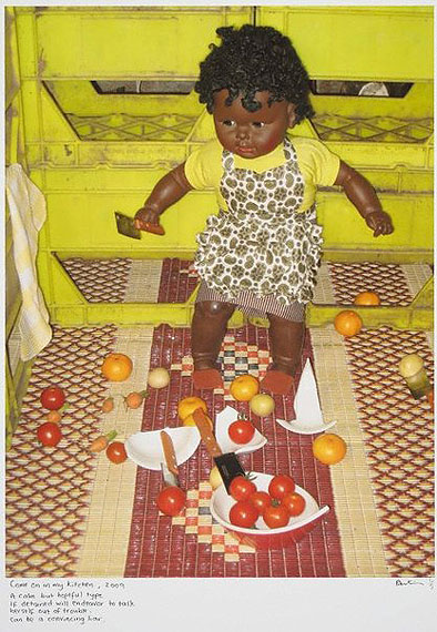 Destiny DeaconCome on in my kitchen2009inkjet print from digital image on archival paper80.0 x 60.0cm image; 105.0 x 81.0cm sheetPurchased with funds provided by the Aboriginal Collection Benefactors' Group 2009© Destiny Deacon. Licensed by Viscopy, Sydney