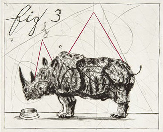 William Kentridge, Rhino, 2005Kaltnadelradierung