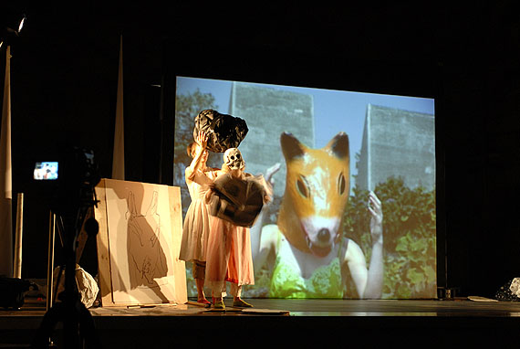 Joan JonasReading DantePerformance at The 16th Biennale of Sydney 2008 at the Cell Block Theatre, Sydney, 2008 Photo: Greg Weight© Joan Jonas