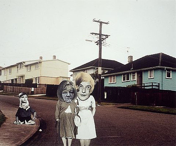 Ava Seymour (New Zealand b.1967)Day Care Walkabouts 1997from 'Health, happiness and housing' seriesPhotomontage on colour photograph© Ava Seymour
