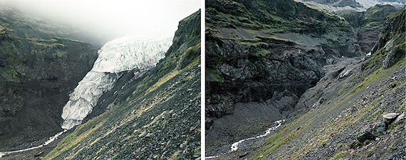 Dyptich Öraefajökull glacier tongue 1999, 2010