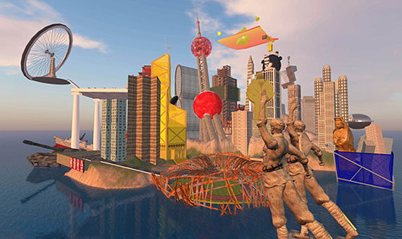 Cao Fei (China)The Birth of RMB City, 2009Second Life Machinima, colour and sound, 10′30″© Cao Fei