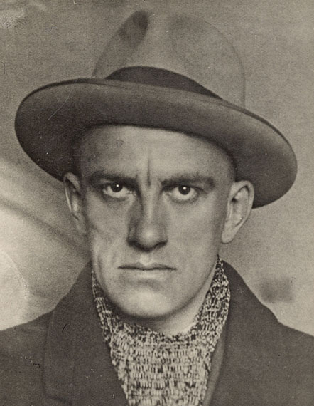 "Alexander  Rodchenko""V. MAYAKOVSKY"". 1924Vintage. Gelatin silver print. 12,5 x 9,7 cm. Photographer's stamp in Cyrillic on the reverse. Annotated by Varvara Rodchenko in pencil: ""V. Mayakovsky 1924 photo A. Rodchenko"" and dedication.Courtesy Villa Grisebach Auctions"