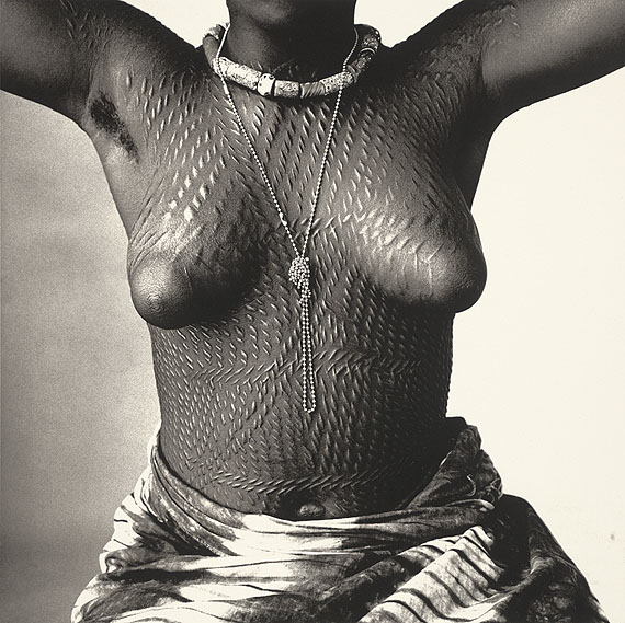 IRVING PENNScarred Dahomey Girl, 1967Platinum palladium print mounted to aluminumc. 33 x 33 cm  Edition of 21© The Irving Penn Foundation