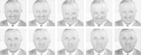"Atomic Laughter, 2002. Sequence of 11 digital printsPresident Harry S. Truman on 6 August, 1945, announcing the bombing of Hiroshima: ""We have spent more than two billion dollars on the greatest scientific gamble in history and we have won."""