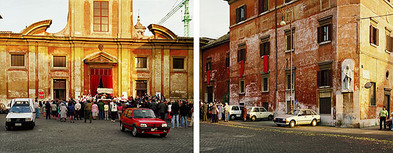 Joel SternfeldChurch of St. Francis of Assisi by the river, 88 Piazza San Francesco d'Assisi, Rome, October 1990Digital c-print, ed. 7Diptych, each 68,5 x 86,3 cm; 27 x 34 inCourtesy Buchmann Galerie Berlin, Luhring Augustine New York and the artist