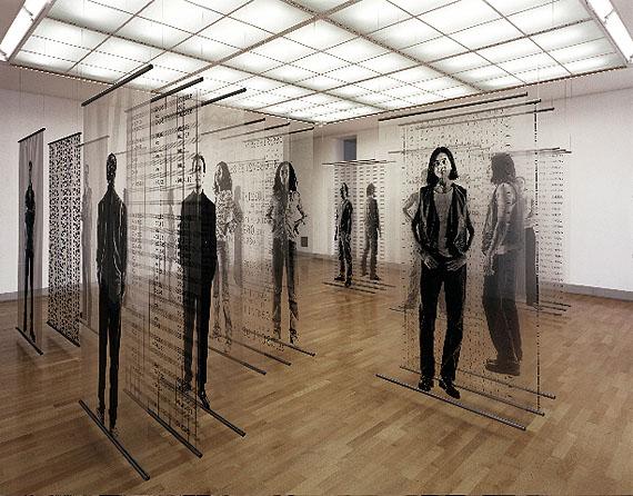Bernhard J. Widmann, SYSTEM-IMMANENT, 1996, Installationen auf Siebdruckfilm, je 3 x 220 x 120cm, an Einfassrohren (Unikate), © Bernhard J. Widmann
