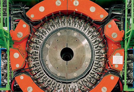 One section of a particle detector in the Large Hadron Collider, the world's largest and highest-energy particle accelerator, 2006 © Simon Norfolk/Institute