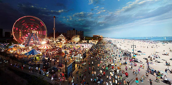 Stephen Wilkes, Coney Island, Day To Night, 2011. Digital C-print, 40 x 80 inches Courtesy Monroe Gallery of Photography