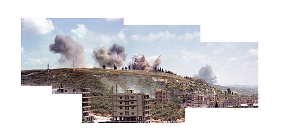 Akram ZaatariSaida, June 6, 19821982/2006Composite image (C-print mounted on aluminum dibond), video, sound127 x 250 cm, 4 mins (loop)Courtesy: Sfeir Semler Gallery