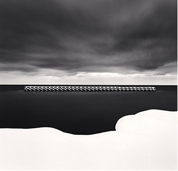 """Winter Seascape, Wakkanai, Hokkaido, Japan"" (2004)Silver gelatin print. 20cm x 20cm - Edition of 45. © Michael Kenna. Courtesy of m97 Gallery."