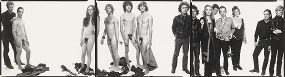 Lot 20RICHARD AVEDON (1923-2004)Andy Warhol and members of the Factory, New York City, 10-30-59gelatin sliver triptych, flush mounted on linenimage: each 7.1/2 x 9.5/8in. (19 x 24.4cm.)overall 29 1/4 x 9 5/8in. (74.3 x 24.4cm.)£25,000 - £35,000