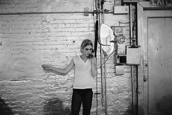 Stephen Shore. Edie Sedgwick using the only phone at The Factory, NYC, ca. 1965-1967. Courtesy Stephen Shore / 303 Gallery, New York. © Stephen Shore