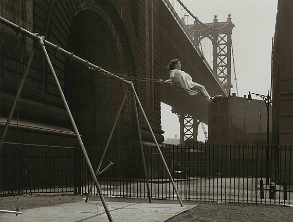 Girl on a swing. Pitt Street, Lower East Side, New York, 1938 © Walter Rosenblum