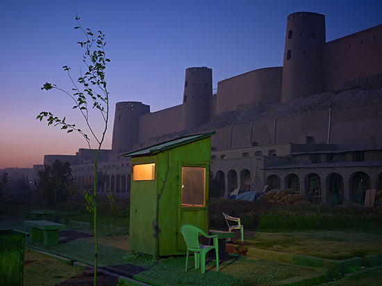 """A security guard's booth at the newly restored Ikhtiaruddin Citadel, Herat, 2010, 40x53"""" from an edition of 7, © Simon Norfolk"""