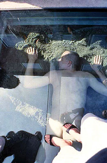 Performance in Art Basel 2001(Skip all day under glass plate in the entrance of the fair)2004 | Inkjet Print | 120 x 80 cm | Limited Edition