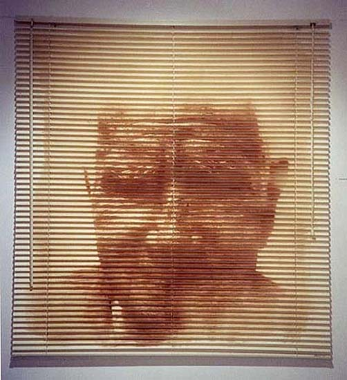 Portrait no. 1, 2001. Heliography printed on plastic Venetian blind. Copyright the artist, courtesy of the Stephen Cohen Gallery.