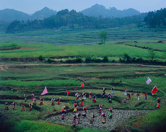 "Zeng Han + Yang Changhong: ""Soul Stealer: Landplay #11, An Shun, Guizhou"" , (2006) Pigment Print on Semigloss Photo Paper. 100cm x 130cm - Edition of 10 ; 140cm x 182cm - Edition of 10., © Zeng Han + Yang Changhong. Courtesy of m97 Gallery."