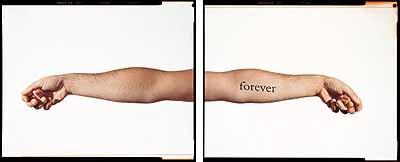 DOUGLAS GORDON, G. NEVER NEVER (WHITE MIRRORED) / D. NEVER NEVER (BLACK), 2000