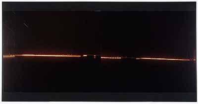 No 4. Permanent Daylight (4-8.dec.'03 - 8-12 jan. '04)expozition time: two times 4 nights (5pm-8am)caravan as camera,camera obscura, ciba chrome paperfrom two parts, 127 x 302 cm, mouted on plexy glass