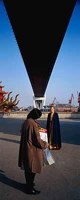 Miao XiaochunFerry 2002, 230 x 92,4 cm, colour photograph