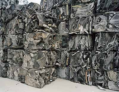 Edward Burtynsky Recycling #20, Cankun Aluminum,  Xiamen City, Fujian Province, China, 2005  chromogenic print, 58 x 68 inches  courtesy of Charles Cowles Gallery, New York