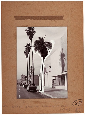 Mock Up #4 (North Side of Hollywood Blvd.), from the series A Few Palm Trees, 1971Gelatin silver print, tracing paper, pigment, pencil, and ink on board Board: 27.9 x 20.3cm Other 20.3 x 12.7cm Image: 17.8 x 12.7cm Whitney Museum of American Art, New York;Purchase, with funds from The Leonard and Evelyn Lauder Foundation, and Diane and Thomas Tuft 2004.585 © Edward Ruscha
