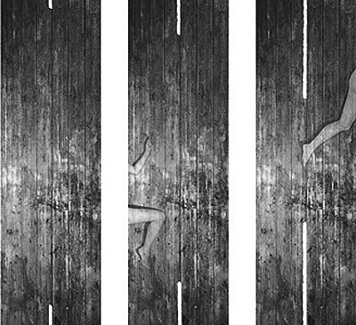 G. Roland Biermann, Apparition 21, Triptych, 2004, Gelatin Silver Prints on Aluminium, 90 x 30 cm each