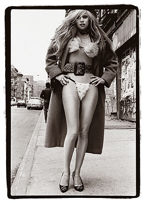 Amy Arbus Phoebe Lègére Fur Bikini, 10th Street and Avenue B, 1987 © Amy Arbus, Courtesy of the Stephen Cohen Gallery