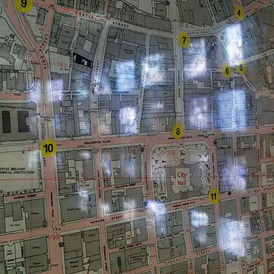Claudio Hils aus Archive Belfast:Polizeirevier Musgrave Street, Städtisches Videoüberwachungssystem, Stadtplan mit den Standorten der Videokameras