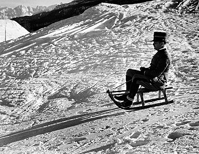 Italian officer enjoying sled ride in Sestrieres, Italian Alps., 1934 by Alfred Eisenstaedt © Time Inc used with permission