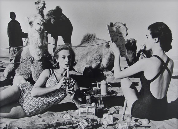 Tatjana and Marie with camels, Picnic Morocco, 1958 © William Klein. Courtesy Michael Hoppen Gallery.